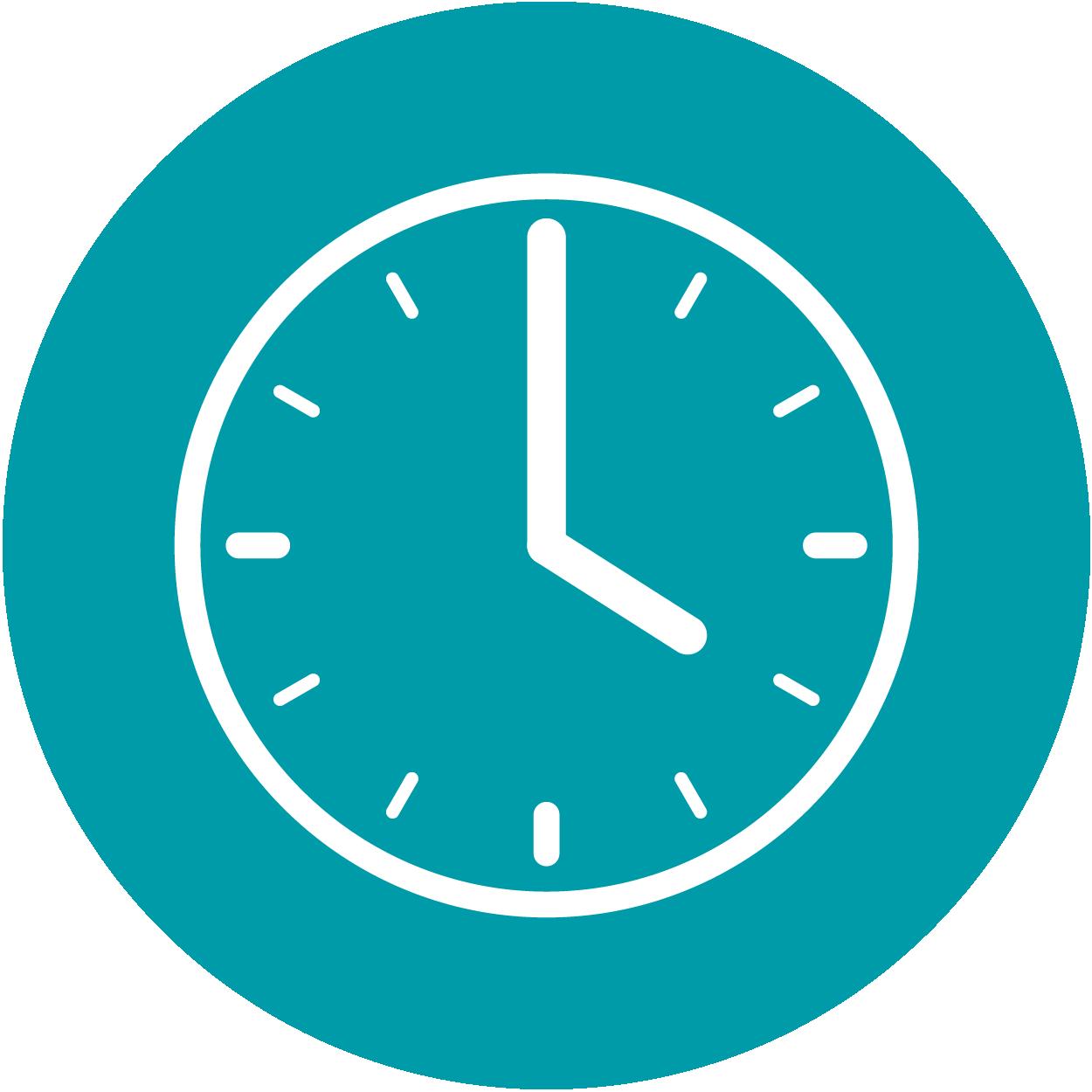 Ein Icon in Form einer Uhr, sie steht für die Dauer der Operation