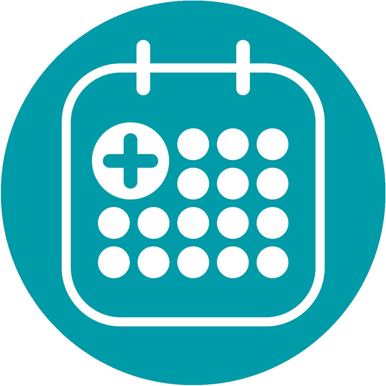 Ein Icon in Form eines Kalenders, es steht für die Dauer des Klinikaufenthaltes