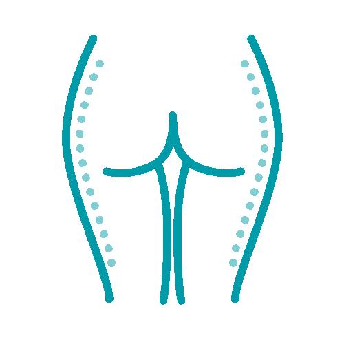 Ein Icon, das die Darstellung einer Fettabsaugung darstellt